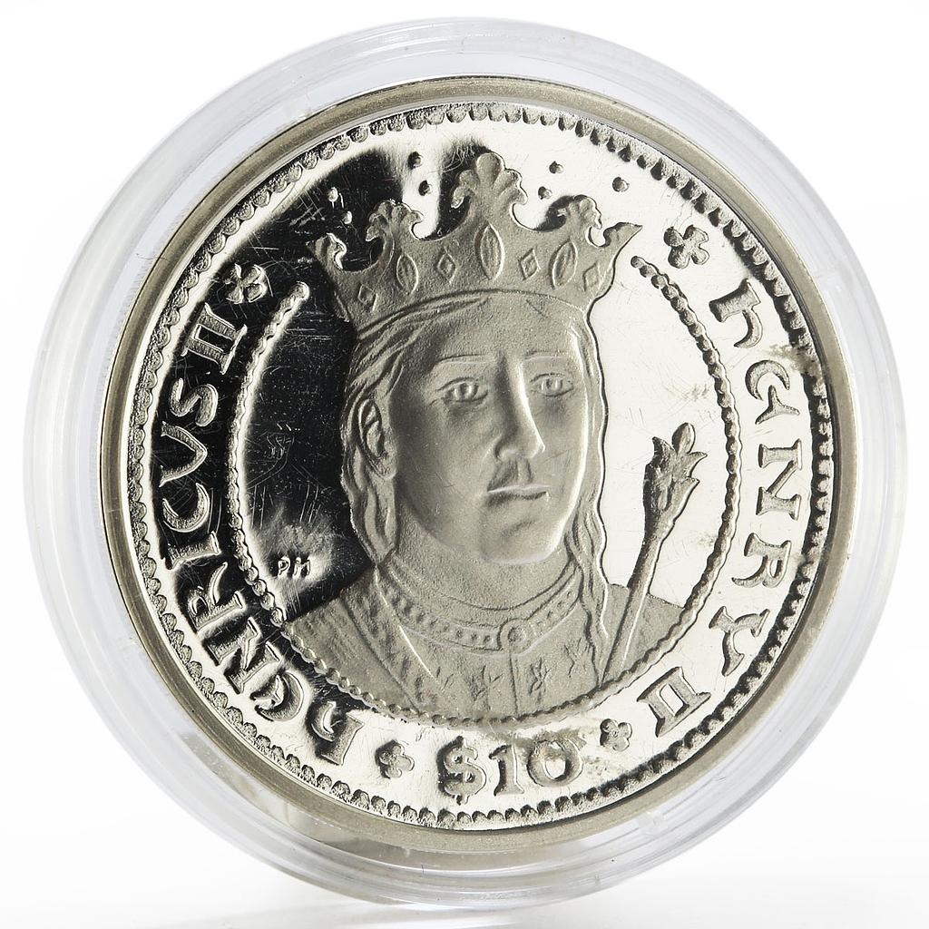 British Virgin Islands 10 dollars King Henry the Second proof silver coin 2007