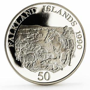 Falkland Islands 50 pence Children Fund Child on Horseback silver coin 1990