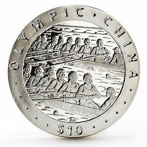 British Virgin Islands 10 dollars China Olympic series Rowing silver coin 2008