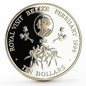 Belize 10 dollars Royal Visit proof silver coin 1994
