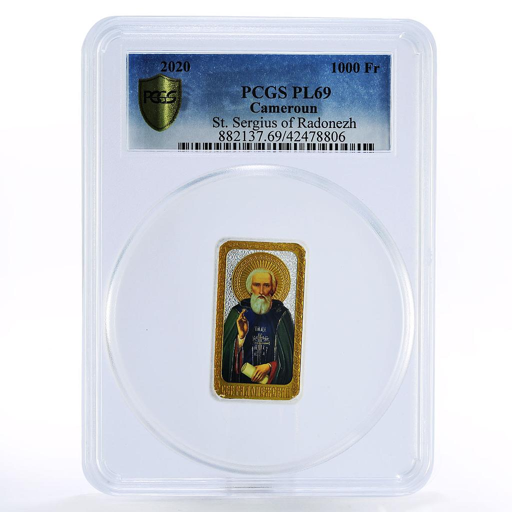 Cameroon 1000 francs Saint Sergius of Radonezh colored silver coin 2020