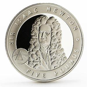 Alderney 5 pounds Sir Isaac Newton proof silver coin 2006