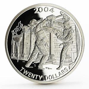 Liberia 20 dollars Athens Olympic Games series Taekwondo proof silver coin 2004