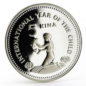 Papua New Guinea 5 kina International Year of the Child proof silver coin 1981