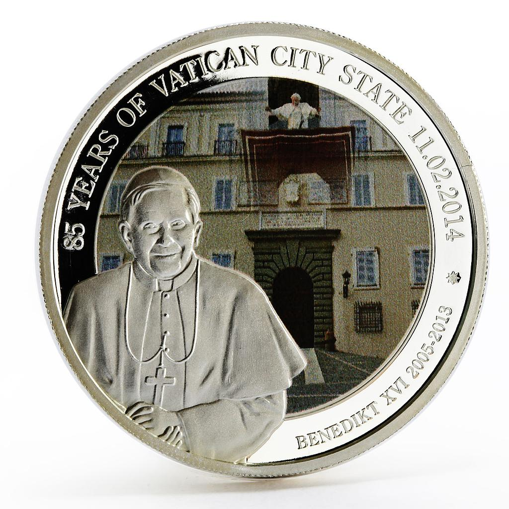 Benin 500 francs 85 Years of Vatican State Pope Benedict XVI silver coin 2014