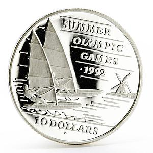 Barbados 10 dollars Sydney Olympic Games series Sailing proof silver coin 1992