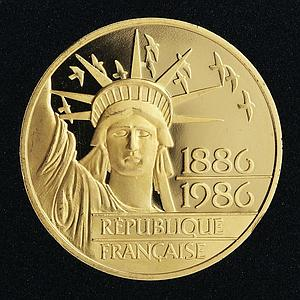 France 100 francs 100th Anniversary Statue of Liberty gold coin 1986