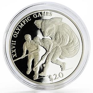 Liberia 20 dollars Sydney Olympic Games Field Hockey Koala silver coin 2000