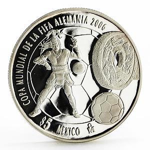 Mexico 5 pesos 2006 World Cup Soccer Games Football proof silver coin 2006