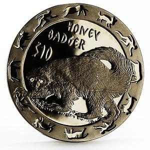 Sierra Leone 10 dollars Nocturnal Animals series Honey Badger silver coin 2008