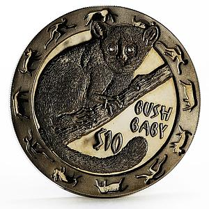 Sierra Leone 10 dollars Nocturnal Animals series Bush Baby silver coin 2008