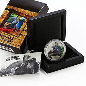 Tuvalu 1 dollar Endangered Wildlife series Southern Cassowary silver coin 2016