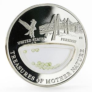 Fiji 1 dollar Treasures of Mother Nature US Peridot Eagle proof silver coin 2012