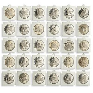 Isle of Man 1 crown Set of 30 Coins Cats of the World nickel 1970, 1988 - 2016