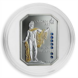 Cook Islands 5 dollars Vatican Art Apollo Belvedere Swarovski silver coin 2009