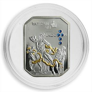 Cook Islands 5 dollars Vatican Art Laocoon Swarovski crystals silver coin 2011