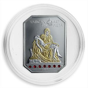 Cook Islands 5 dollars Vatican Art The Pieta Swarovski crystal silver coin 2009