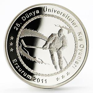 Turkey 50 lira World Universities Winter Games series Hockey silver coin 2011