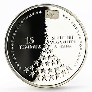 Turkey 20 lira In Memory of Martyrs and Heroes of 15th July silver coin 2016