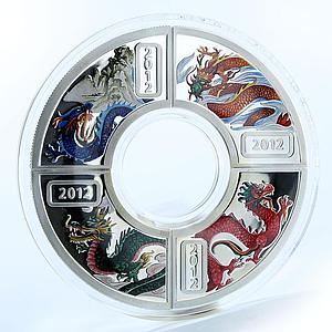 Cook Islands 1 dollar set of 4 silver coins Year of the Dragon Lunar 2012