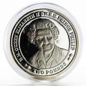 Sandwich Islands 2 pounds 70 Years of Marriage of Elizabeth II silver coin 2017