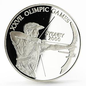 Uganda 1000 shillings Sydney Olympic Games series Archer silver coin 1999