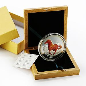 Mongolia 5000 togrog Equus Ferus Wild Horse colored proof silver coin 2007