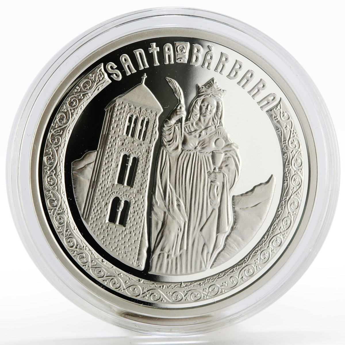 Andorra 10 dinars Holy Helpers series St. Barbara silver proof coin 2010