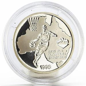 Congo 500 francs Sydney Olympic Games series Basketball proof silver coin 1998