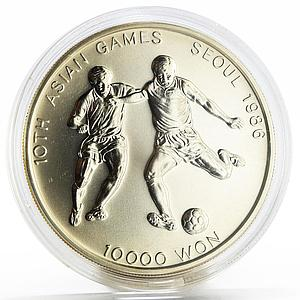 Korea 10000 won 10th Seoul Asian Games series Football silver coin 1986
