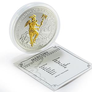 Cook Islands 10 dollars Mercury God of Trade and Commerce train silver coin 2008