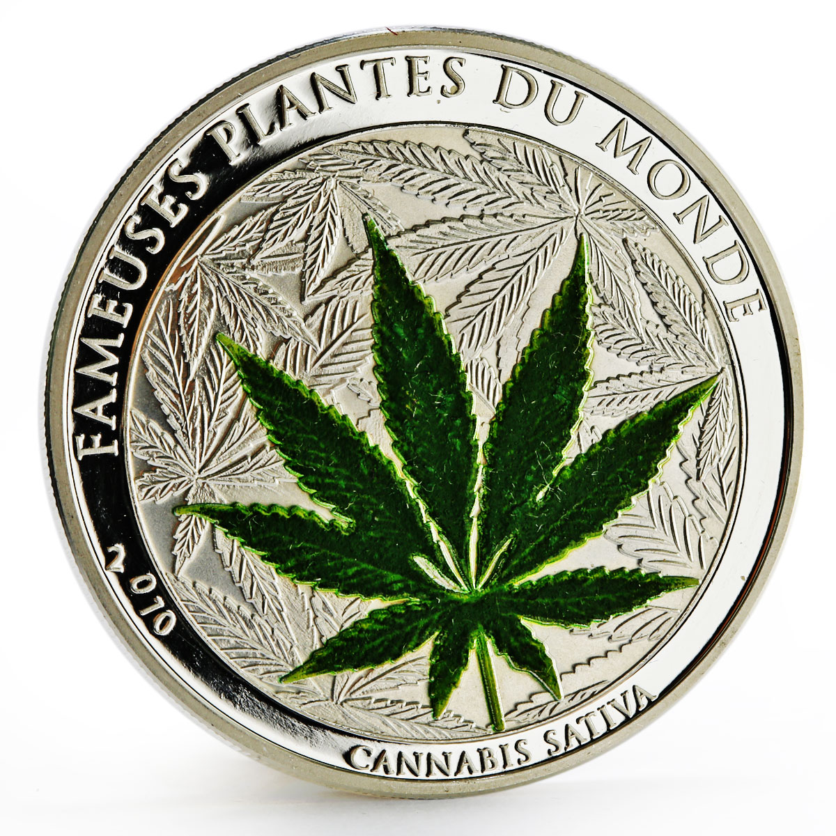 Benin 1000 francs Famous World Plants series Cannabis Sativa silver coin 2010
