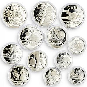 Mexico set of 12 coins Football World Cup 1986 silver coins 1985 - 1986