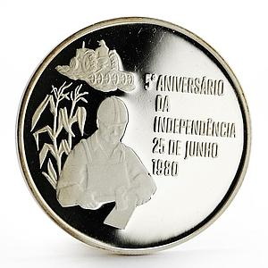 Mozambique 500 meticais 5th Anniversary of Independence Freedom silver coin 1980