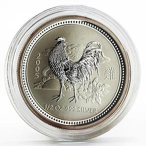 Australia 50 cents Lunar Calendar series I Year of the Rooster silver coin 2005