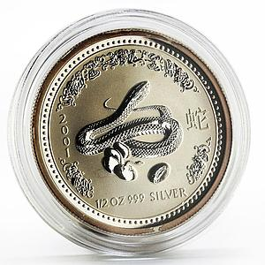 Australia 50 cents Lunar Calendar series I Year of the Snake silver coin 2001