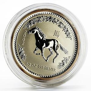 Australia 50 cents Lunar Calendar series I Year of the Horse silver coin 2002