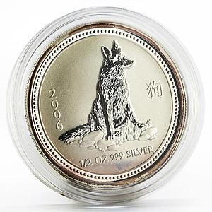 Australia 50 cents Lunar Calendar series I Year of the Dog silver coin 2006