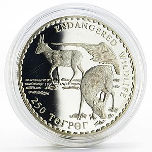 Mongolia 250 togrog Endangered Wildlife series Two Saigas proof silver coin 1993