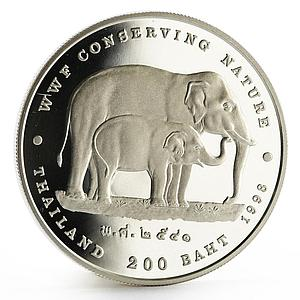 Thailand 200 baht WWF Conserving Nature series The Elephants silver coin 1998