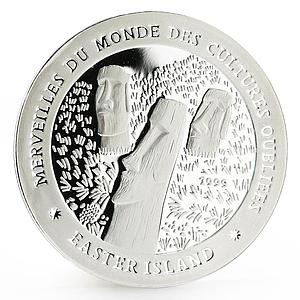 Chad 1000 francs Forgotten Cultures series Easter Island proof silver coin 1999