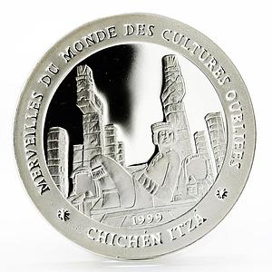 Chad 1000 francs Forgotten Cultures series Chichen Itza proof silver coin 1999