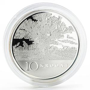 Estonia 10 krooni 90th Anniversary of Independence Oak Tree silver coin 2008