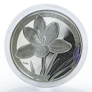 Armenia 1000 dram World of Flowers series Crocus Saffron proof silver coin 2011
