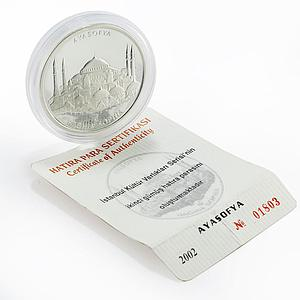 Turkey 10000000 lira Famous Mosques series Haghia Sophia proof silver coin 2002