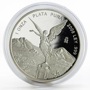 Mexico 1 onza Libertad Angel of Independence proof silver coin 2008