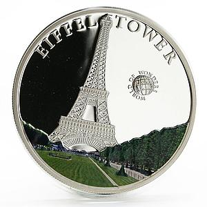 Palau 5 dollars World of Wonders Eiffeltower colored proof silver coin 2010