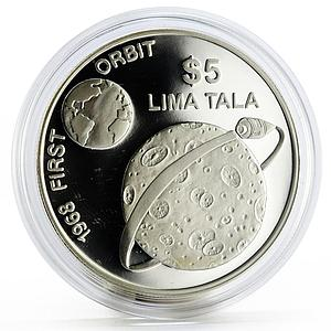 Tokelau 5 dollars Humanity in Space series The First Orbit 1968 silver coin 1993