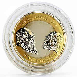Britain 2 pounds 250th Anniversary of Charles Darwin piedfort silver coin 2009