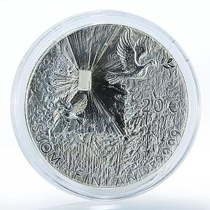 Finland Suomi 20 Euro Peace and Security, Birds 2009 Silver Proof Coin